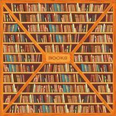 Large bookcase with different books — Stock Vector