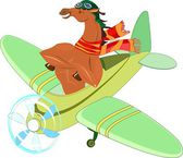 Horse-aviator in an airplane — Stock Vector
