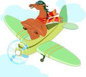 Cavalo-aviador em um avião — Vetor de Stock