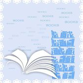 Background with open book and bookcase — Stock Vector