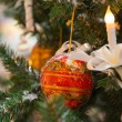 Christmas tree decoration with candle — Stock Photo