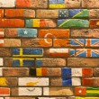 Wall with flags — Stock Photo