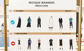 Sinal de código de vestimenta de mesquita — Fotografia Stock