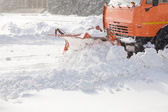 Snowplow no trabalho — Foto Stock