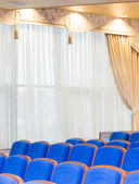 Conference hall with blue seats — Foto Stock