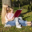 Beautiful mother and daughter reading book — Stok fotoğraf