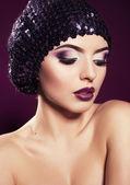 Portrait of beautiful model with purple make up — Foto Stock