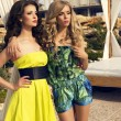 Two beautiful glamour girls in colorful dresses posing on beach — Stock Photo #48691481
