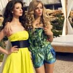 iki güzel seksi kız sahilde poz renkli elbiseler — Stok fotoğraf #48691481