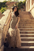 Beautiful woman with black hair in luxurious dress posing on stairs — Stock Photo