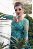 豪華なシルクのエレガントなヘアスタイルで美しい女性のドレスします。 — ストック写真
