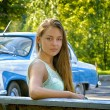 Girl on a background of retro car — Stock Photo #39342163