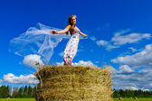 Girl in a field — Stock Photo