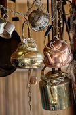 Brass utensils for tea — Stockfoto