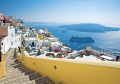 Fira panorama with caldera view and Nea Kameni, Santorini, Greece — Photo