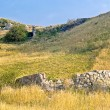 Stone remnants in the azov steppe in the evening, Crimea, Ukraine — Stock Photo