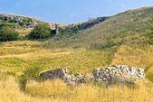 Каменные остатки в степи Азов в вечер, Крым, Украина — Стоковое фото