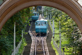 Two Kiev funicular wagons approach each other — Stock Photo