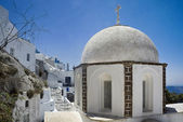Fira church cupolas in Fira, Santorini — Stock Photo