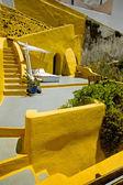 Yellow Santorini terrace, Greece — Stockfoto