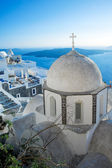 Fira church cupolas at sunset in Fira, Santorini — Stock Photo