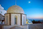 Fira church cupolas at night in Fira, Santorini — Stock Photo