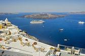 Caldera view from Fira terrace at Santorini — Stockfoto