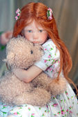 A girl with bear — Stok fotoğraf
