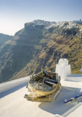 Boat on a roof at Santorini — Stock Photo