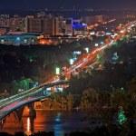 Metro bridge at night in Kiev, Ukraine — Stock Photo #37080285