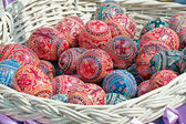 Colorful waxed Ukrainian easter eggs — Stock Photo