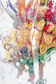 Frozen bouquet of yellow roses vertical — Stock Photo