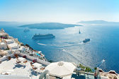 Caldera view from Fira terrace at Santorini — Stock Photo