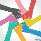 Teamwork, Colorful Hand — 图库矢量图片