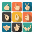 Hands Icons Set, Flat Design Vector illustration — Stock Vector #45360859