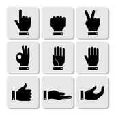 Hands Icons Set, Flat Design Vector illustration — Stock Vector
