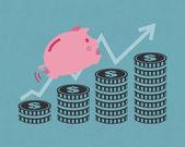 Piggy and money bar — Stock Vector