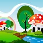 Mushrooms cartoon — Stock Vector
