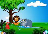 Dier in de jungle cartoon — Stockvector