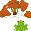 Dog and frog cartoon — Stock Vector