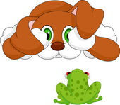 Dog and frog cartoon — 图库矢量图片