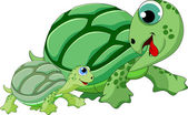 Mother and child turtle — Stock Vector