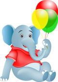 Elephan and baloon cartoon — Vettoriale Stock