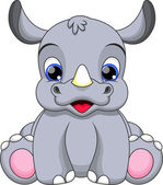Cute baby rhino cartoon — Stock Vector