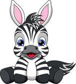Cute baby zebra cartoon — Stock Vector