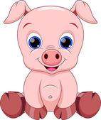 Cute baby pig cartoon — Stock Vector