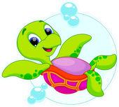 Deniz kaplumbağası karikatür — Stok Vektör
