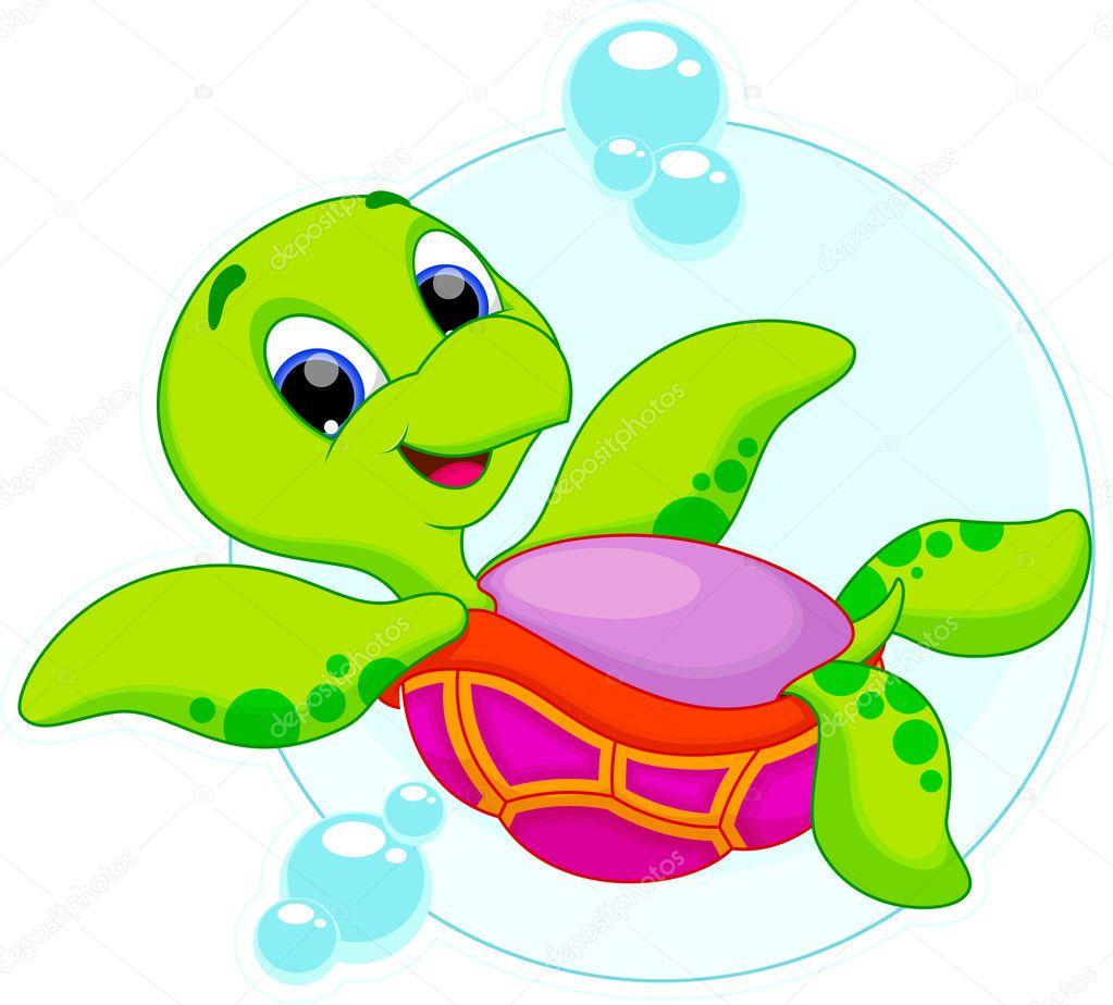 Cartone animato tartarughe marine — vettoriali stock