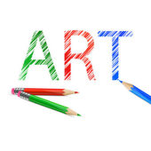Art word drawn with pencils — Stock Vector