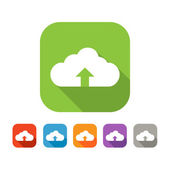 Color set of flat cloud uploading icon — Stock Vector